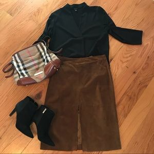 Banana Republic Genuine Leather / Suede Skirt